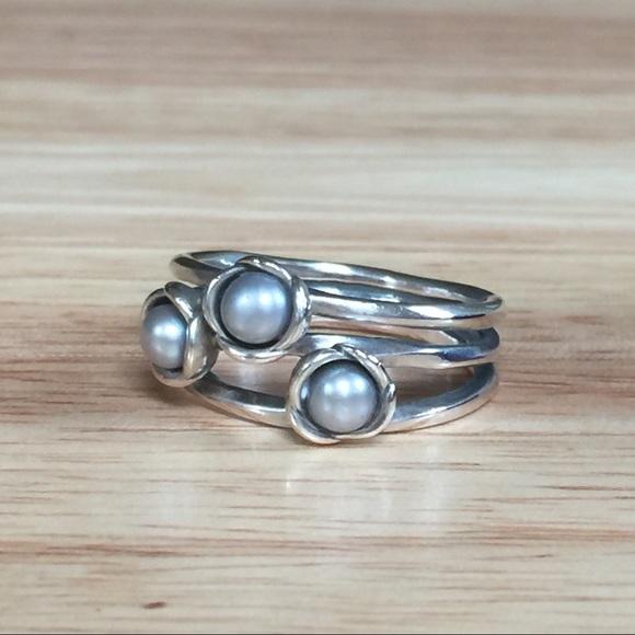 Pandora Grey Pearl Earrings: Retired Silver Flower Grey Pearl Ring